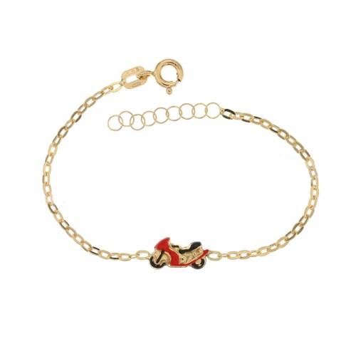 Yellow gold 18 Kt 750% children bracelet with red motorcycle