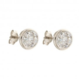 Gold 18 K cubic zirconia, solitaire earrings