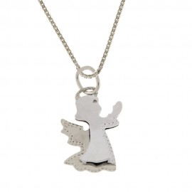White gold 18 Kt 750/1000 with angel pendant woman necklace