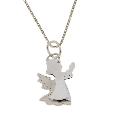 Collana in oro bianco 18 Kt con angelo