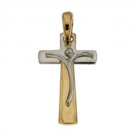 Croce in oro giallo e bianco 18 Kt 750/1000 traforata da donna