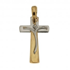 Yellow and white gold 18 K cross pendant
