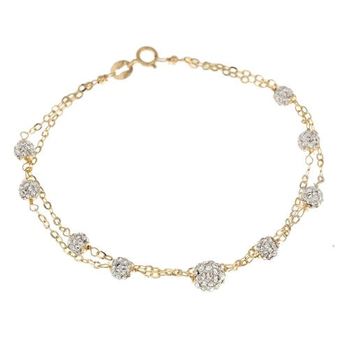 Gold 18 K cubic zirconia double chain bracelet