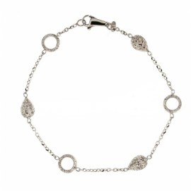 Gold 18 Kt 750/100 with shiny and hammered elements woman bracelet