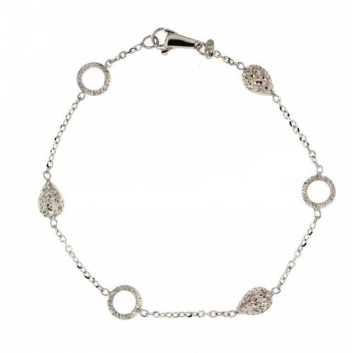 Gold 18 K shiny and hammered bracelet