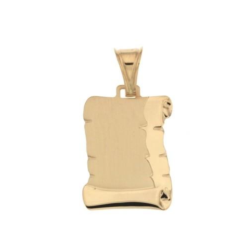 Pendente in oro 18 Kt a pergamena personalizzabile