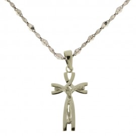 Gold 18kt 750/1000 with cross pendant shiny men necklace