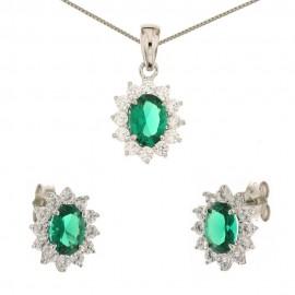 Parure in oro bianco 18 Kt con quarzo verde e zirconi