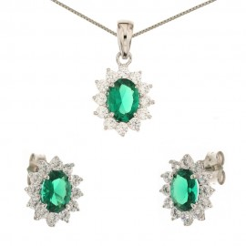 White gold 18 Kt 750/1000 green quartz and cubic zirconia Princess set