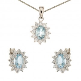 White gold 18 Kt 750/1000 light blue quartz and cubic zirconia Princess set