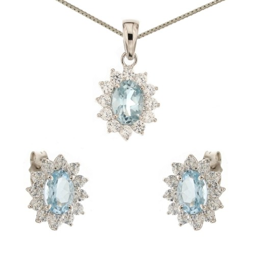 White gold 18 K light blue quartz and cubic zirconia Princess set
