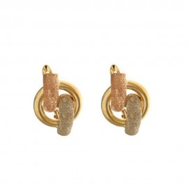 Multi tone gold 18 K Classic woman earrings