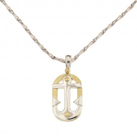 White and yellow gold 18Kt 750/1000 with shiny anchor man necklace