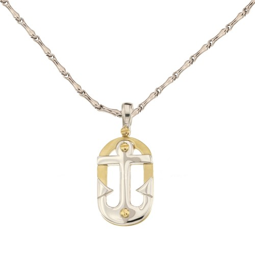 White and yellow gold 18 K with anchor pendant