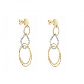 Gold 18 K shiny and hammered earrings