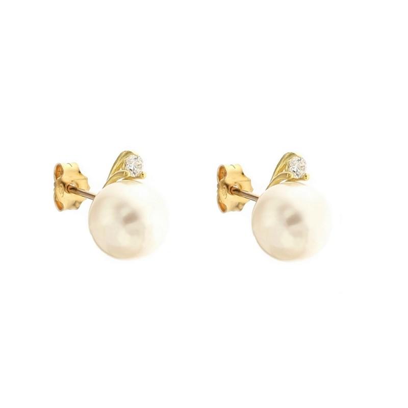 Orecchini in oro 18 Kt con perla e zirconi