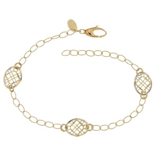 Gold 18 K hammered woman bracelet