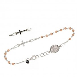 White and rose gold 18 K 750% rosary bracelet with white and black stones, Length 7.00 inch