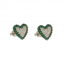 Orecchini in oro bianco 18 Kt 750/1000 a cuore con zirconi bianchi e verdi