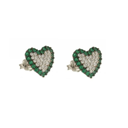 White gold 18 K white and green cubic zirconia heart earrings