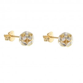 Gold 18 K multi-faceted earrings