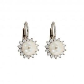 Orecchini in oro bianco 18 Kt con perle e zirconi