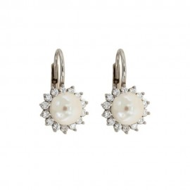 White gold 18 K pearls and cubic zirconia earrings