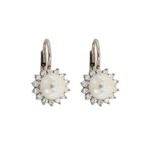 9fefc7f1a7f895 Orecchini in oro bianco 18 Kt con perle e zirconi