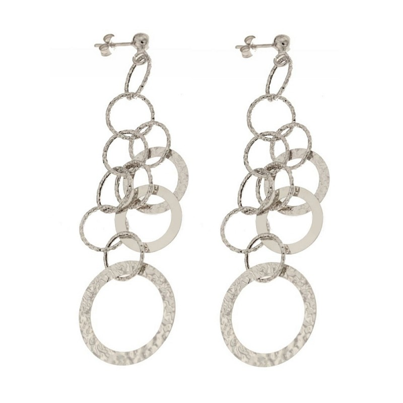 Gold 18 K pendant hammered earrings