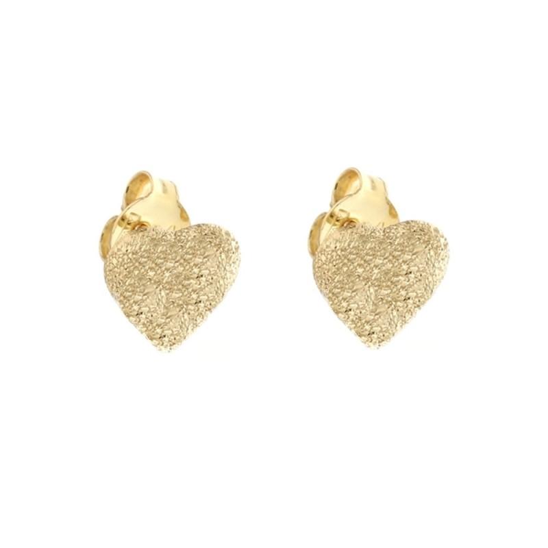 Gold 18 K diamond cut heart earrings