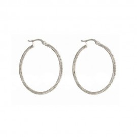 Gold 18 K hammered hoops earrings