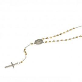 Girocollo rosario in oro 18 Kt con sfere sfaccettate