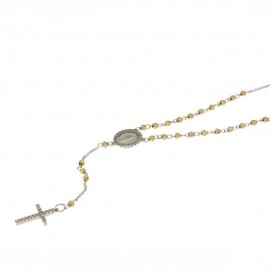 Gold 18Kt 750/1000 with white cubic zirconia rosary necklace
