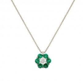 White gold 18 K flower pendant necklace