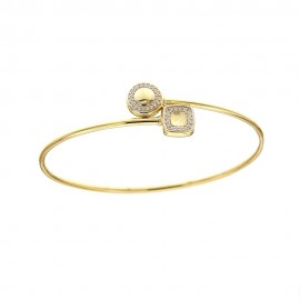 Yellow and white gold 18Kt 750/1000 with white cubic zirconia woman bracelet