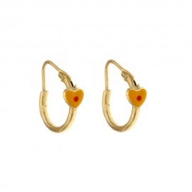 Yellow gold 18 Kt 750/1000 with hearts hoops earrings