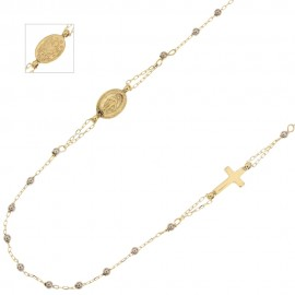 Gold 18Kt 750/1000 with shiny spheres rosary necklace