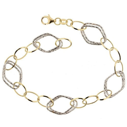 Gold 18 K link chain shiny and hammered bracelet