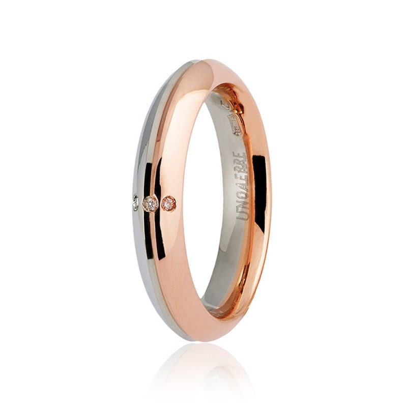 Gold 18 K Unoaerre 3 diamonds Eterna wedding ring
