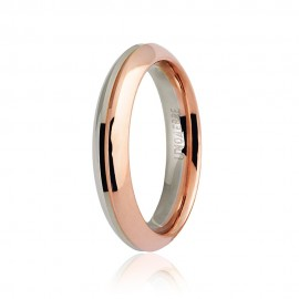 White and rose Gold 18 K Unoaerre Eterna wedding ring