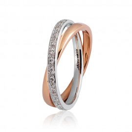 White and rose gold 18 K Unoaerre Per Sempre ring