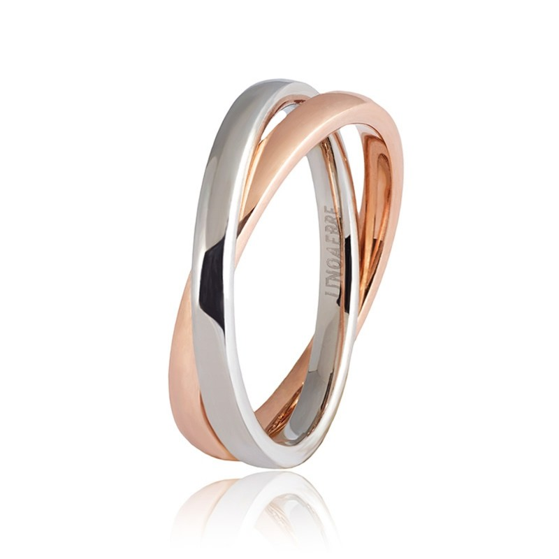 White and rose gold 18 K Unoaerre Per Sempre ring