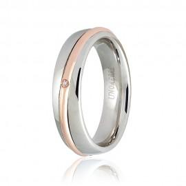 Gold 18 K Unoaerre Saturno wedding ring