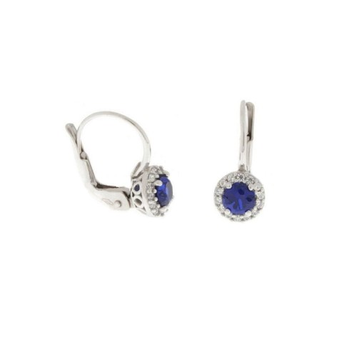 White gold 18 K colored quartz and cubic zirconia earrings