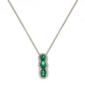 White gold 18 Kt quartz and cubic zirconia trilogy necklace