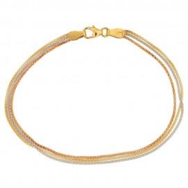 Bracciale in oro bianco giallo e rosa 18 Kt 750/1000 maglia pop corn da donna