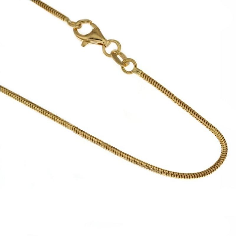 Collana in oro giallo 750% 18Kt modello coda di topo 50cm