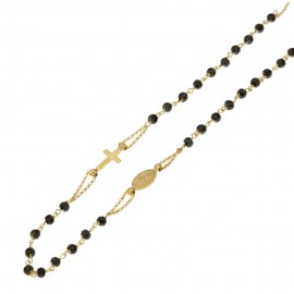 Rosary necklace yellow gold 18 carat with blacks zirconia