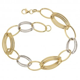 Yellow and white gold 18Kt 750/1000 link chain shiny and hammered woman bracelet