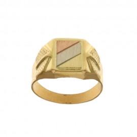 Anello in oro giallo, bianco e rosa 18 Kt modello a scudo